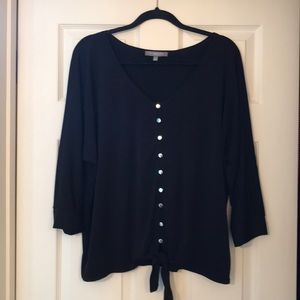 BOHO NY Collection black top with silver buttons.